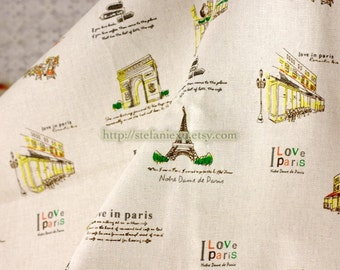 Watercolor Style Paris Scene, Travel Around The World - Linen Cotton Blended Fabric (Fat Quarter)