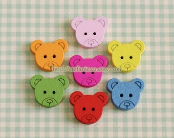 Wooden Buttons, Painted Color - Colorful Rainbow Teddy Head, Small (7 in a set)