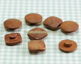 Wooden Buttons - Retro Looking Domed Bead Design With Mushroom Shape, Round Or Square (4 in a set)