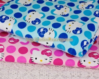 SALE Clearance- 0.85 Yard Lovely Hello Kitty and Big Polka Dots, Blue - Flannel Fabric (LAST Piece, 0.85 Yard, 31x 43 Inches)