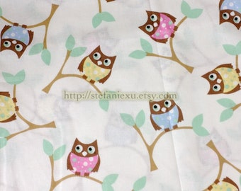 Owl Collection, Colorful Baby Owl Hoots On Trees -Cotton Fabric (1/2 Yard, 17.7x39.3 Inches)