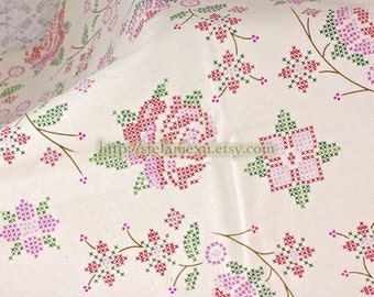 Cross Stitched Style Rose Floral Garden - Retro Unbleached Cotton Fabric (Fat Quarter)