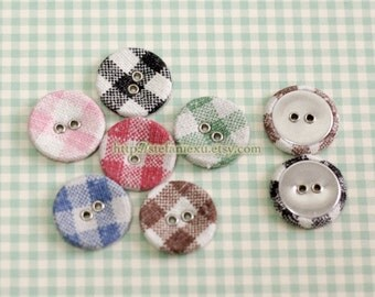 Linen Fabric Covered Buttons, Metal Holes - Simple Gingham Set (2CM, 4 in a set)