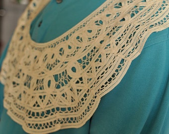Sewing Supplies, Findings - Japanese White Floral Circle Lace Collar, Large