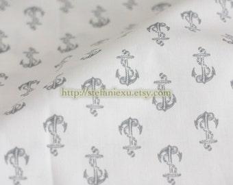 Nautical Marine, Retro Classic Neat Anchors - Japanese Cotton Fabric (1/2 Yard, LAST PIECE)