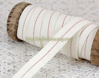 2 Yards Sewing Twill Tape/Ribbon - Simple Chic Red Dotted Line (W1.6CM)
