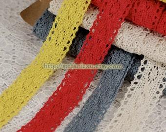SALE-2 Yards Cotton Crochet Lace - Retro Spindle, Choose Your Color (W2cm, 2 Yards)