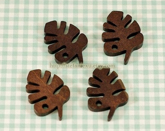Natural Wooden Buttons - Beautiful Hawaii Leaf Leaves (4 in a set)