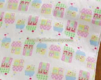 SALE CLEARANCE Lovely Chic Polka Dots and Checks Houses- Double Layer Knit Cotton Fabric (1/2 Yard, 17.7x59 Inches)
