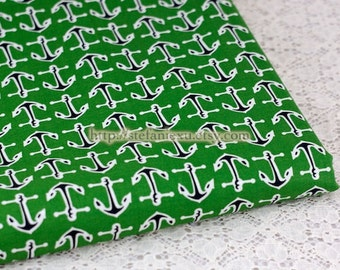 SALE Clearance Nautical Marine Ocean Love, Black Sailing Anchors On Green-Japanese Cotton Fabric(LAST Piece, 0.75 Yard, 27.5x43.3 Inches)