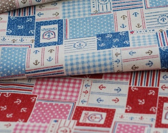 Nautical Marine, Retro Anchor Dots Check Stripe Patchwork - Linen Cotton Blended Fabric(Fat Quarter)