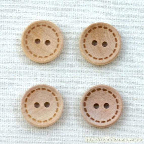 Wooden Buttons, Natural Color - Round With Dotted Line (4 in a set)