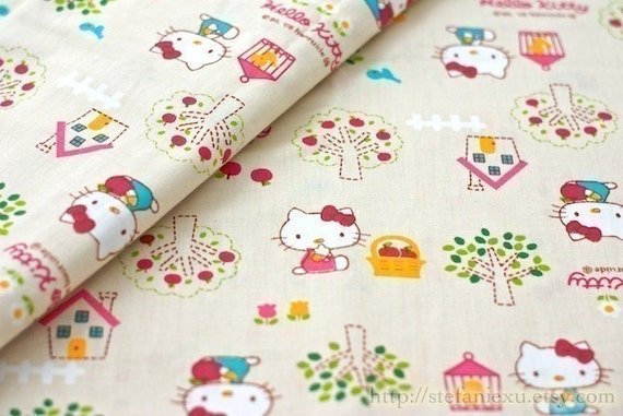Japanese Cotton Fabric-Hello Kitty and Apple Tree, Cream Color (Fat Quarter 20x31 inches)