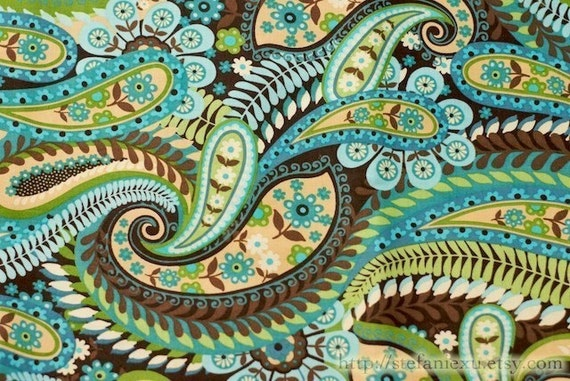 Cotton Fabric, Love of Nature-Beautiful Paisley, Green (Fat Quarter 20x22 inches)