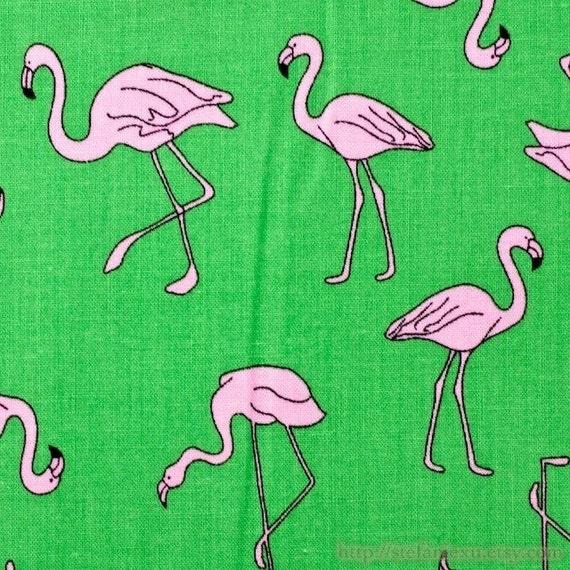 Birds Collection, Pink Crane On Green-Cotton Fabric (Fat Quarter)
