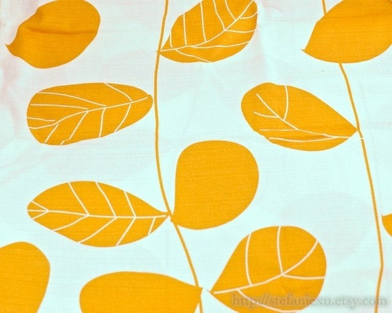 Japanese Bamboo Joints Cotton Fabric-Orange Leaves On White (Fat Quarter)