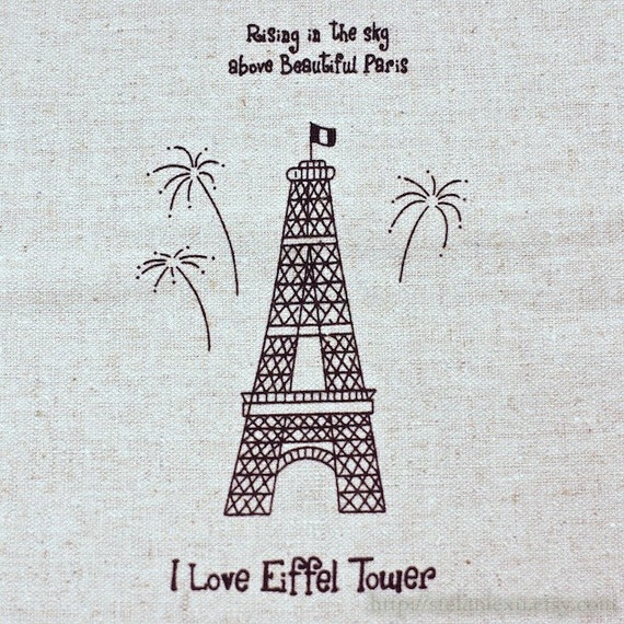 Unique Linen Collection-I Love Eiffel Tower, A (6 Cuts, 19.5x21.5 inches)