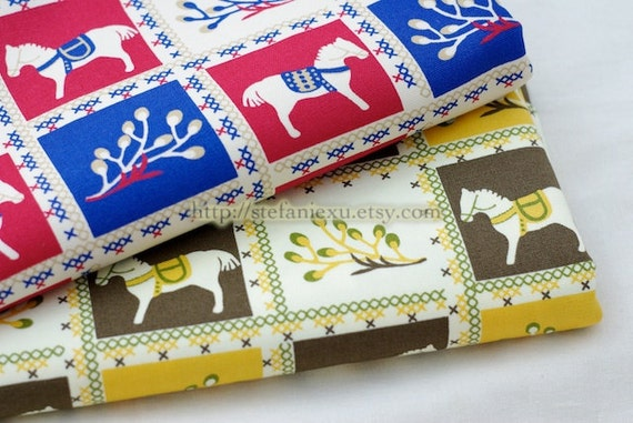 Japanese Light Canvas Fabric-Dala Horse and Flora, Brown and Green (Fat Quarter)