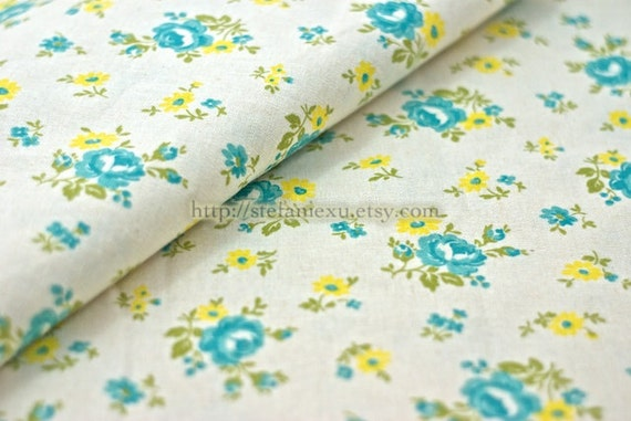 LAST PIECE-Chic Collection, Shabby Chic Roses(Yellow)-Japanese Linen Cotton Blended Fabric (17.7x18.6 inches)