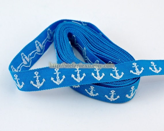 Embroidery Sewing Tape/Ribbon - Sea Anchors (Sky Blue)