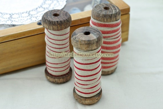 Natural Sewing Tape/Ribbon - French Red Work Style (1 Yard)