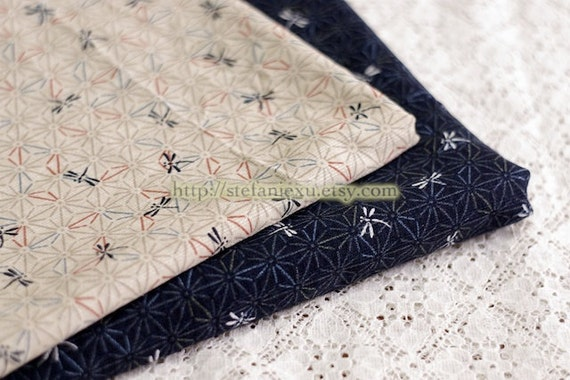 Traditional Dragonfly On Asanoha Floral, Light Beige-Japanese Cotton Fabric (Fat Quarter,  17.7x19.5 Inches)