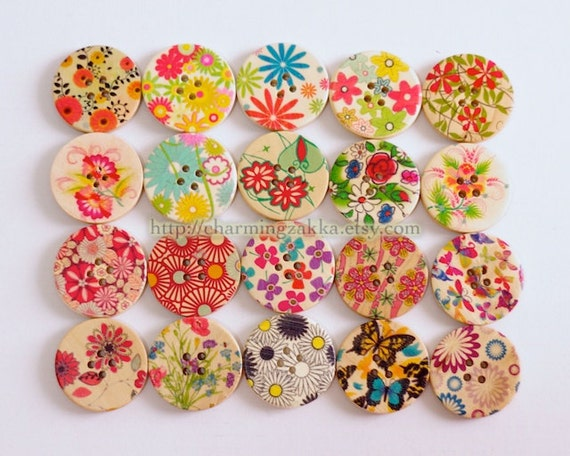 Wooden Buttons, Painted Color - NEW Natural Collection, Big (20 in a set)