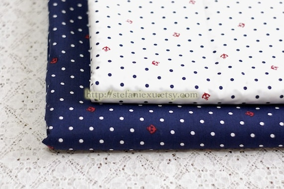 Nautical Marine, Red Anchor and White Polka Dots On Navy Blue-Japanese Cotton Fabric (Fat Quarter)