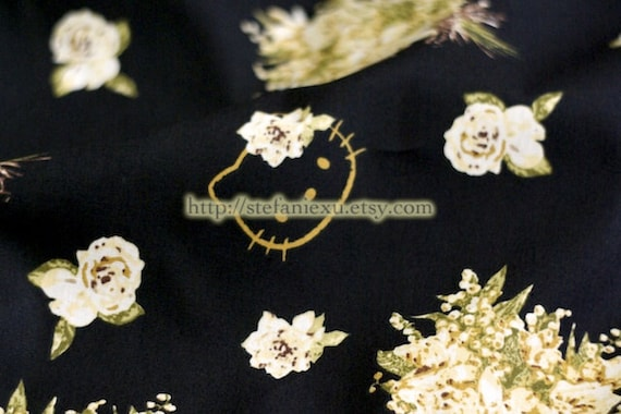 LAST PIECE-Golden Hello Kitty and Shabby Rose Bouquet On Black - Japanese Cotton Fabric (1/2 Yard)