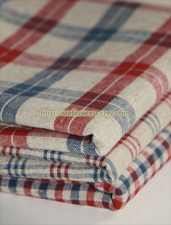 Check Gingham Collection-Retro Blue and Red Checks - Japanese Linen Cotton Blended Fabric (1/2 Yard)