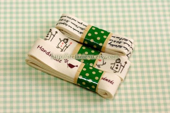SALE - Sewing Tape/Ribbon Set- Love Letter, Porker Soldier In Wonderland, Natural Handmade (1 Pack)