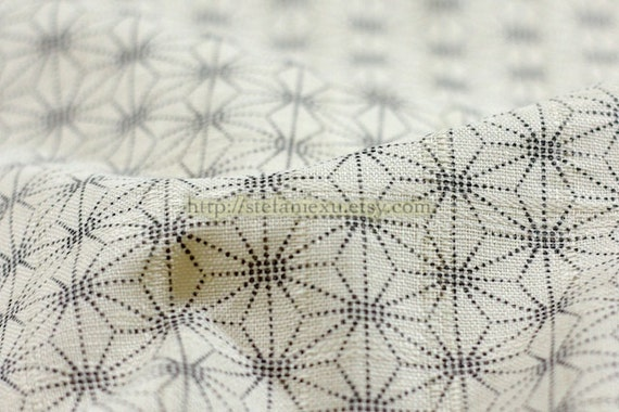 Traditional Asanoha Floral, Off White-Japanese Cotton Fabric (Fat Quarter)