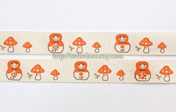 2 Yards Sewing Tape/Ribbon - Matryoshka and Mushroom In Orange
