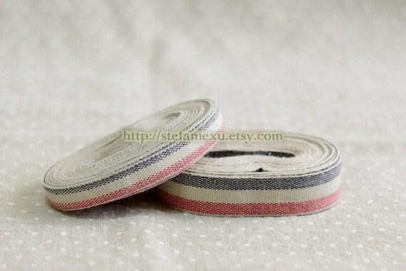 Natural Sewing Tape/Ribbon - Black and Red, Choose Pattern (1 Yard)