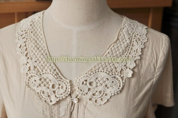 Sewing Supplies, Clothing Deco - Small Collars, Cotton Lace Crochet In Off White (D)