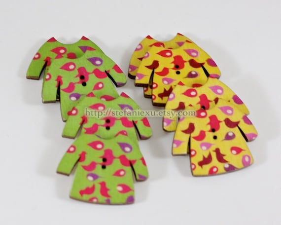 Wooden Buttons, Printed Color - Sweet Colorful Flying Bird Top Coats, Choose One Color (4 in a set)