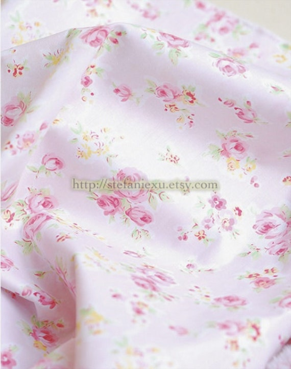 Shabby Chic Rose Floral, Pink  - Cotton Fabric (1/2 Yard)