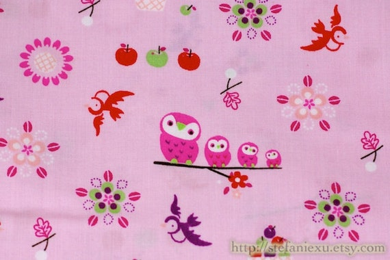 Owl Collection, Pink Hoot Owl Family, Flying Birds On Pink - Cotton Fabric (1/2 Yard)