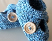 signature baby booties blue denim 6 to 9 months- ready to ship