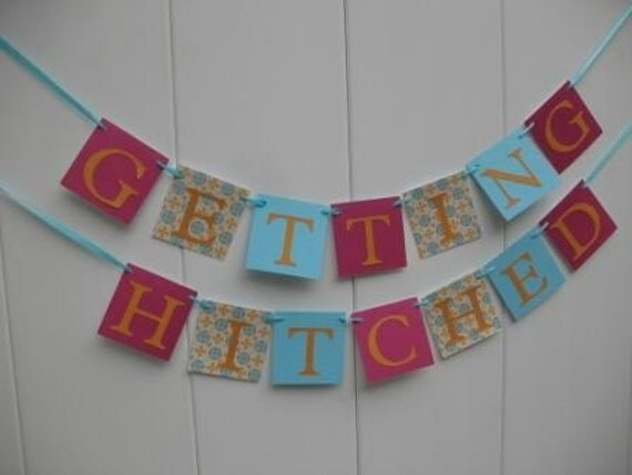 getting hitched wedding banner by iecreations on etsy