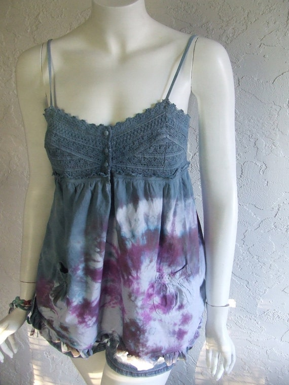 Babydoll Tank in Purple and Greys