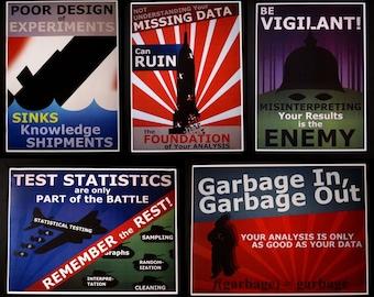 Set of 5 Statistics Propaganda Posters