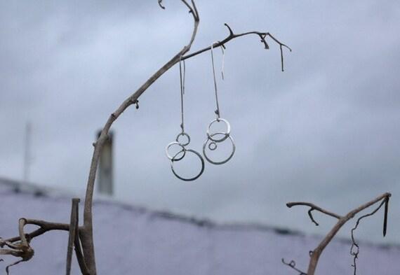Large Dangling Moons handmade hammered sterling silver earrings