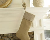 Burlap Linen Christmas Stocking Cuff Top  Country Living