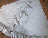 Large Christmas Tree Skirt Winter White Ruffle Linen and Burlap
