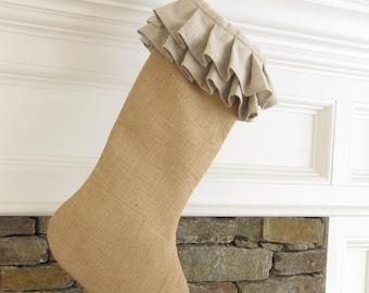 SALE Burlap Linen Ruffle Top Christmas Stocking
