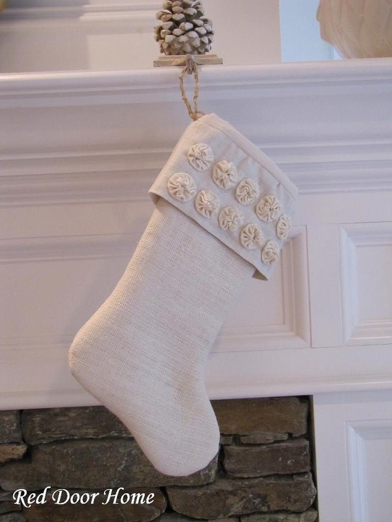 Burlap Christmas Stocking Linen Winter White with Small Rosettes