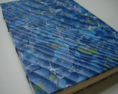 Blue marbled paste paper journal