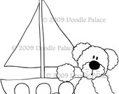 Bear in a Sailboat DIGITAL STAMP\/IMAGE