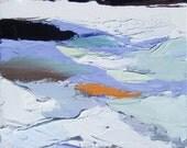 "winter landscape painting, oil and acrylic paint, 10 x 8.5"" canvas, by artist Lauren Adams"